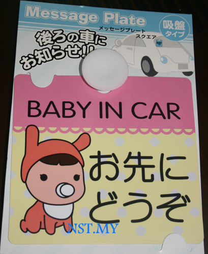 Baby in Car Windows Plate