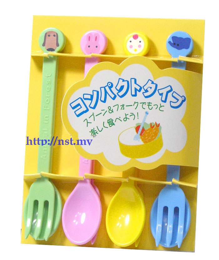 Japan Import Animal World cake/puddingFork & Spoon Set