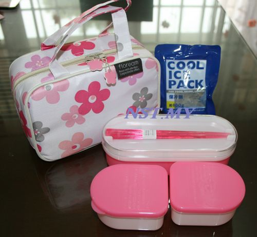 Japan Import Pink Flower Bento Box Set