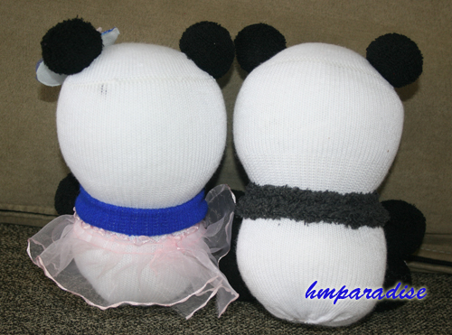 """Panda Lovers"" Handmade Sock Dolls"