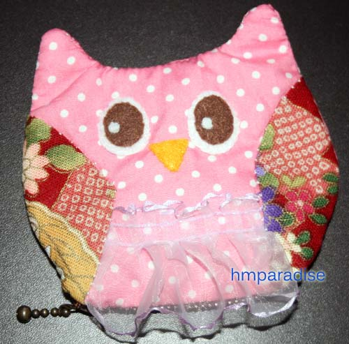 Handmade Lady Owl Pink Purse