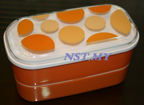 Japan Import Orange Balloon Double Decker Bento Box