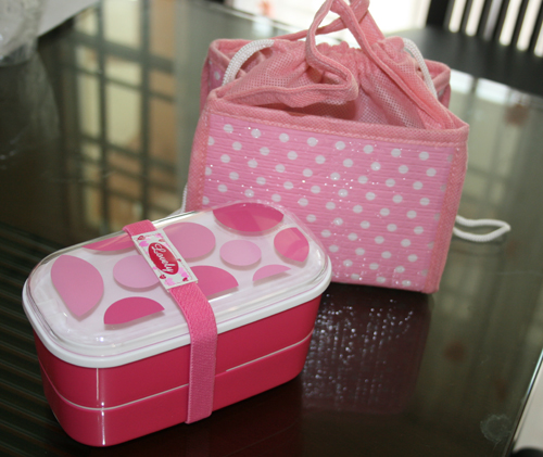 Japan Import Pink Double Decker Bento Box Set