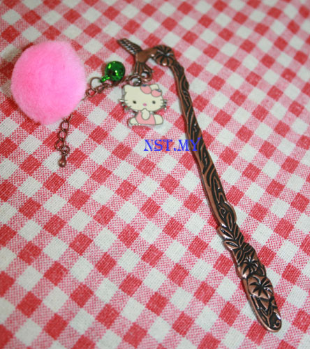 Pink Kitty and Bell 3D Bookmark