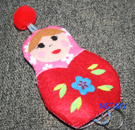 Handmade Key Holder- Red Russian Doll