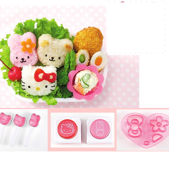 Cute Rice Moulds+Seaweed Puncher+Cheese & Vegie Mould