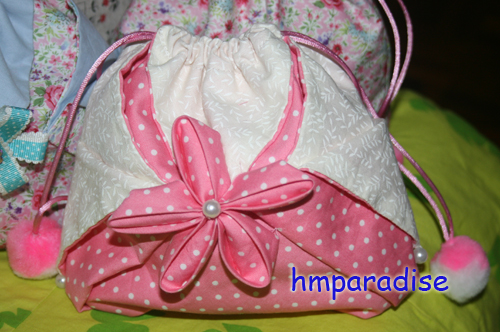 Handmade Japanese Style Draw String Bag Pink Dot
