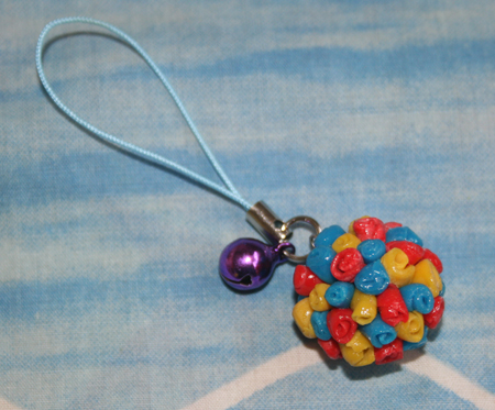 Flower Ball Handphone Strap with bell