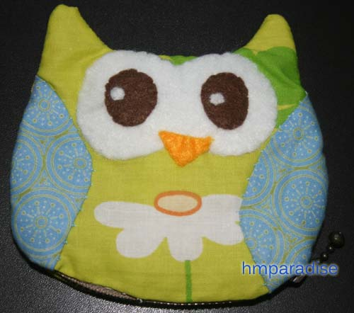 Handmade Owl Green Purse