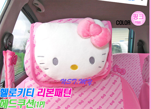 Hello Kitty Bows Car Head Cushion
