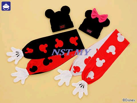 Japan Limited Import Mickey & Minnie Hat & Scarf Set