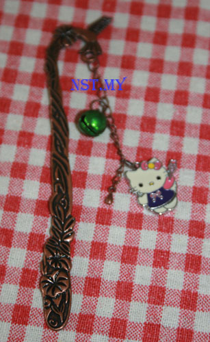 Purple Kitty and Bell 3D Bookmark
