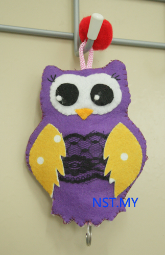 Handmade Key Holder- Purple Owl