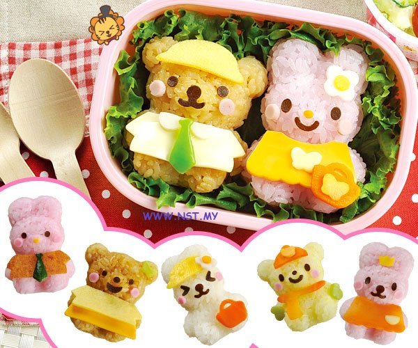 Rabbit n Bear Rice Moulds n Multipurpose Cutter Set