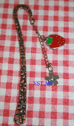 Strawberry and Flower 3D Bookmark
